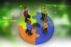 3d people standing on puzzles Royalty Free Stock Images
