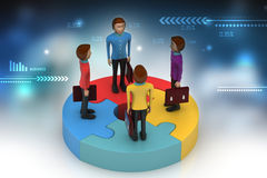 3d people standing on puzzles Stock Images