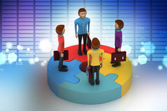 3d people standing on puzzles Stock Photos