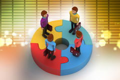 3d people standing on puzzles Stock Photo