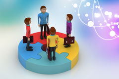 3d people standing on puzzles Royalty Free Stock Image