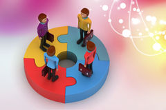 3d people standing on puzzles Stock Photography