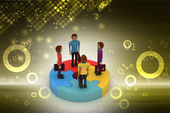 3d people standing on puzzles Royalty Free Stock Photo