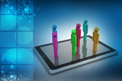 3d people standing on the tablet computer Stock Photo