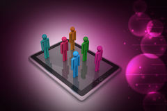 3d people standing on the tablet computer Stock Image