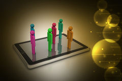 3d people standing on the tablet computer Stock Images