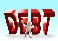 3d people stopping red DEBT word falling, 3D illustration. 3d people stopping the red DEBT word falling, 3D illustration Royalty Free Stock Images
