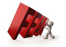3d people stopping red FEAR word falling, 3D illustration. 3d people stopping red FEAR word falling, isolated on white. 3D illustration Stock Photo