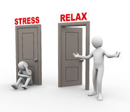 3d people and stress - relax doors. Royalty Free Stock Image
