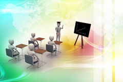 3d people  studying. In attractive color background Royalty Free Stock Photography