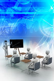3d people  studying. In blue color background Royalty Free Stock Photos