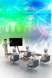 3d people  studying. In blue color background Stock Photo
