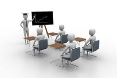 3d people studying. Financial graph Stock Images