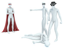 3d people. Superman and bandits Royalty Free Stock Images