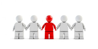 3d people taking hands in team work. Five characters standing in line, isolated on white backgroud vector illustration