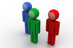 3d people with target face Stock Images