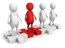 3d people team group on puzzle with red leader. 3d Royalty Free Stock Photography