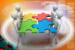 3d people - team with the puzzles in hands Stock Images