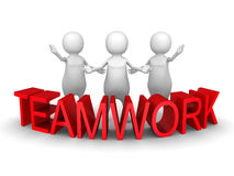 3d people team with red concept word teamwork Stock Image