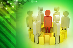 3d people team standing on the gear Royalty Free Stock Photo