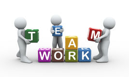 3d people team work cubes Stock Photos
