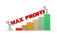 3d people with text max profit. 3d rendering of progress bar chart and people with word max profit. 3d white person people man Royalty Free Stock Photography