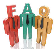 3d people thinking about frequently asked questions. FAQ Stock Photos