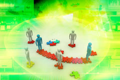 3d people on top of puzzle pieces Royalty Free Stock Images