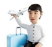 3d people tourist with suitcases goes on vacation Royalty Free Stock Images