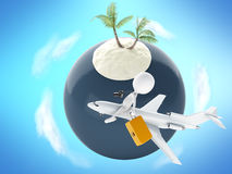3d people tourist and tropical island. Summer vacation concept Royalty Free Stock Photos