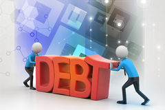 3d people try to avoid debt Royalty Free Stock Image