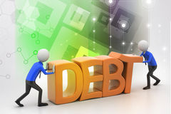 3d people try to avoid debt Royalty Free Stock Photography