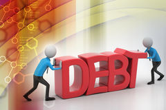 3d people try to avoid debt Royalty Free Stock Images