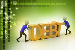 3d people try to avoid debt Stock Photos