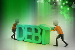 3d people try to avoid debt. In color background Royalty Free Stock Photos