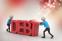 3d people try to avoid debt. In color background Royalty Free Stock Images