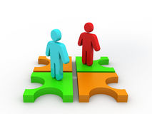 3d people - two men, and puzzle. royalty free stock image
