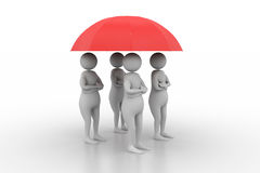 3d people under a red umbrella Royalty Free Stock Photo
