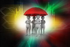 3d people under a red umbrella, team work concept Royalty Free Stock Images
