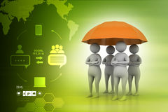 3d people under a red umbrella, team work concept Royalty Free Stock Photography