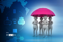 3d people under a red umbrella, team work concept Royalty Free Stock Image