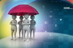 3d people under umbrella, team work concept Royalty Free Stock Photo