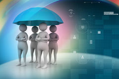 3d people under umbrella, team work concept Stock Images