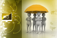 3d people under umbrella, team work concept Stock Photos