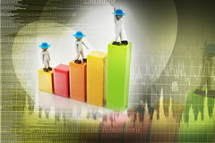 3d people walking on financial graph. In color background Stock Images