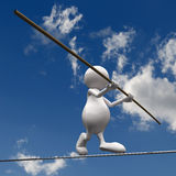 3D People walking on wire. On blue sky background Royalty Free Stock Image
