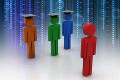 3d people wear graduation cap for pledge Stock Image