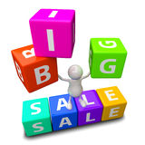 3D People with word big sale. Made from colorful blocks Stock Image