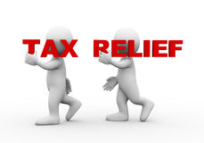 3d people word text tax relief. 3d illustration of walking people carrying word text tax relief on their shoulder.  3d rendering of man people character Stock Image