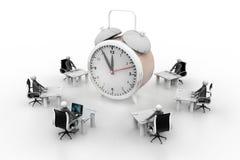 3d people working  around the alarm clock Stock Image